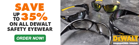 Save up to 35% on Selected DeWalt Safety Eyewear!  Buy Now and Save $$$.