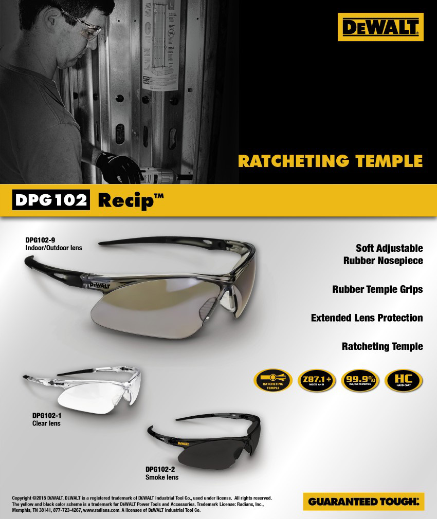 DeWalt DPG102 Recip Safety Glass. Shop Now!