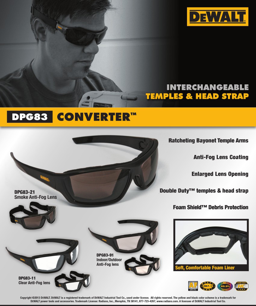 DeWalt DPG83 Converter Safety Glass/Goggle Hybrid. Shop Now!
