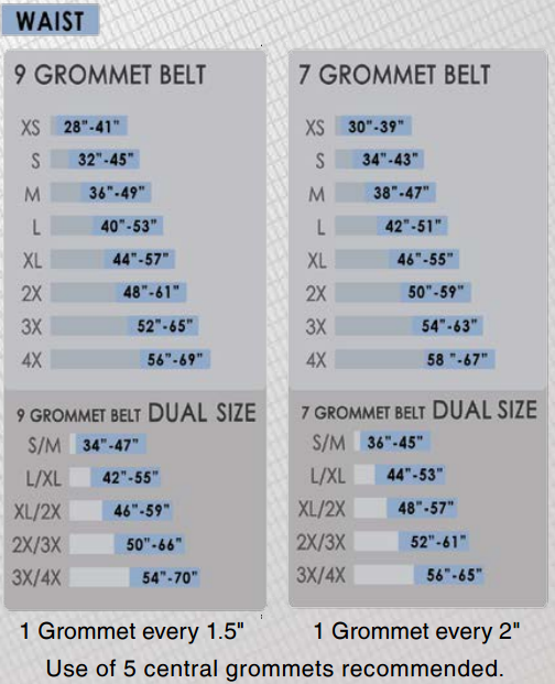 FallTech Belt Size Chart