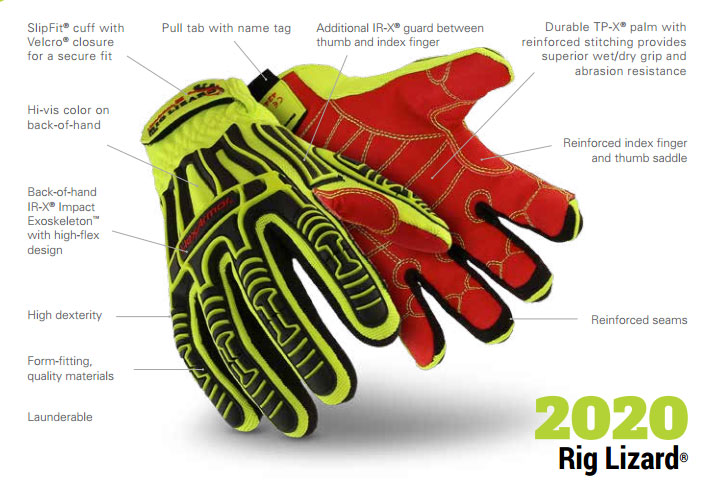 HexArmor 2020 Rig Lizard Impact Gloves Product Specifications