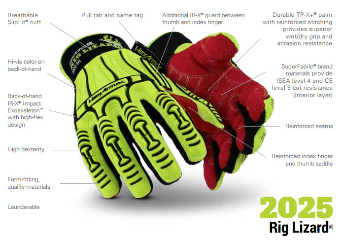 HexArmor 2025 Rig Lizard Impact Gloves Product Specs