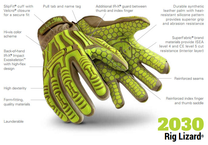 HexArmor 2030 Rig Lizard Silicone Grip Impact Gloves Product Specs