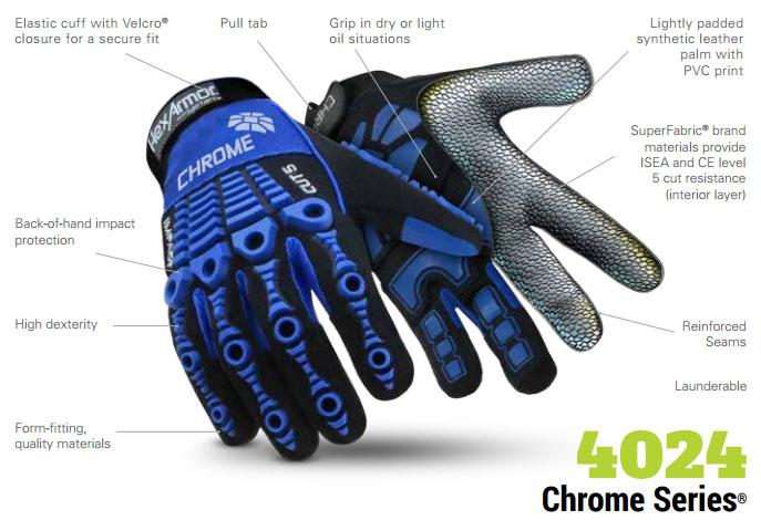 HexArmor 4024 Chrome Series Impact SuperFabric L5 Cut Resistance Gloves Product Specs