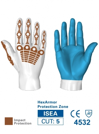 HexArmor 4024 Chrome Series Impact SuperFabric L5 Cut Resistance Gloves Protection Zones