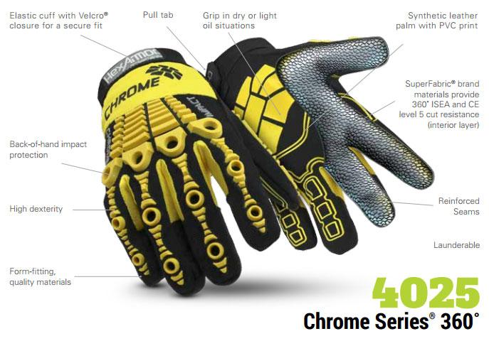 Hexarmor 4025 Chrome Series Cut 5 360 L5 Cut Resistance Gloves