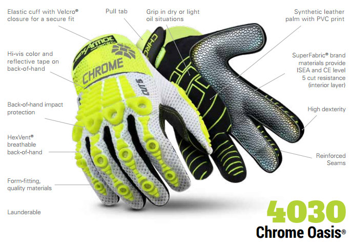 HexArmor 4030 Chrome Oasis Hi-Vis HexVent Heavy Duty Gloves Product Specs