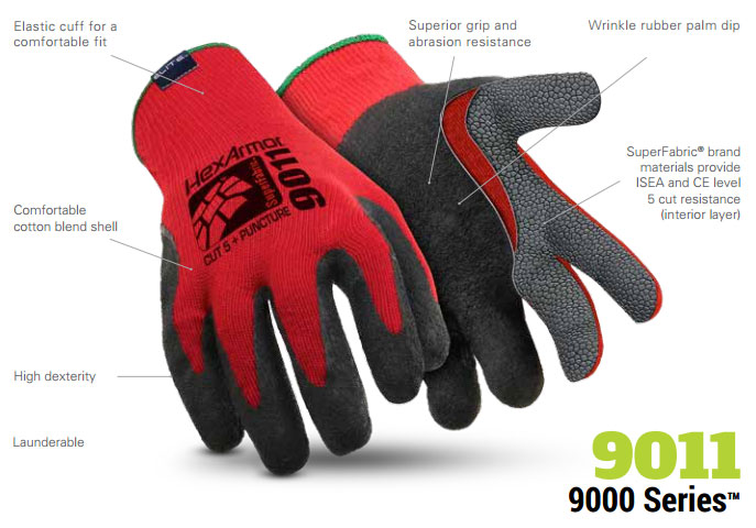 HexArmor 9011 9000 Series Red Black SuperFabric L5 Cut Resistant Gloves Product Specs
