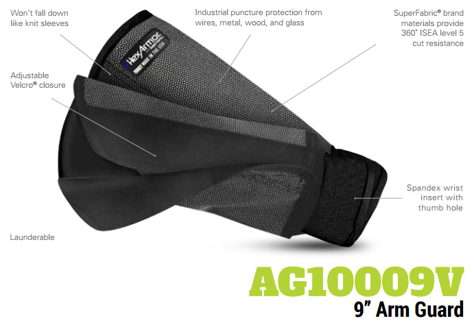 HexArmor AG10009V 9 Inch SuperFabric L5 Cut Resistant Arm Guard Product Specs