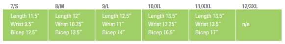 HexArmor AG10009V 9 Inch SuperFabric L5 Cut Resistant Arm Guard Sizing Guide