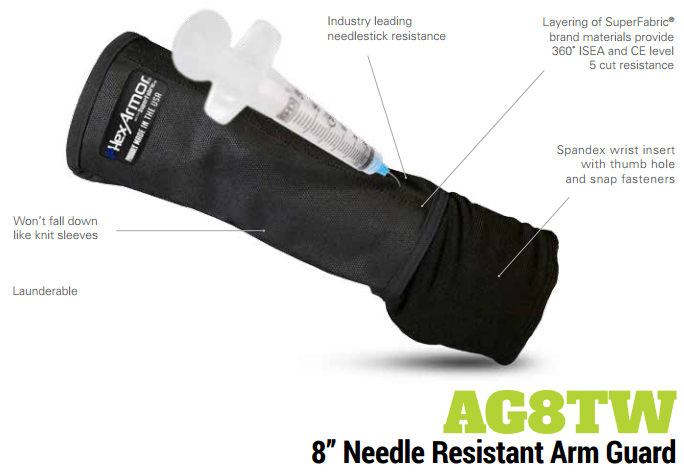 HexArmor AG8TW 8 Inch Needle Puncture and Cut Resistant Arm Guard Product Specs