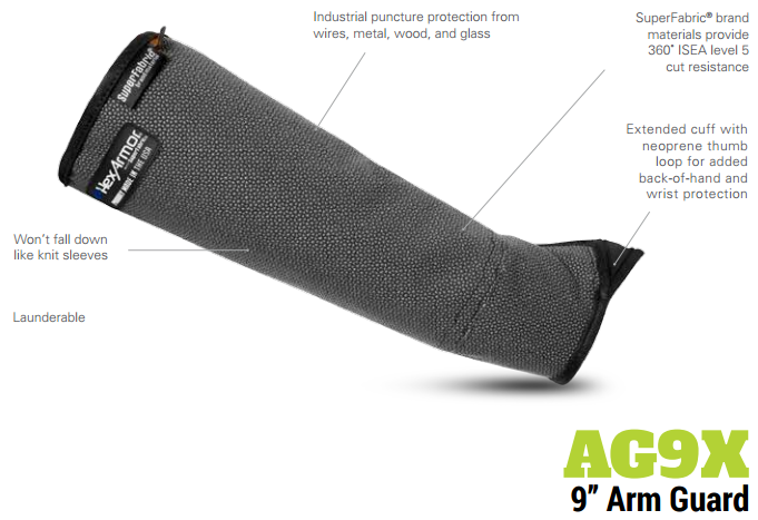 HexArmor AG9X 9 Inch SuperFabric Protective Arm Guard Extended Cuff Product Specs