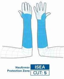 HexArmor AG9X 9 Inch SuperFabric Protective Arm Guard Extended Cuff Protection Zones