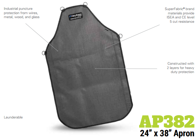 HexArmor AP382 Protective Apron 24 In. x 38 In. Heavy Duty Double Layer Product Specs
