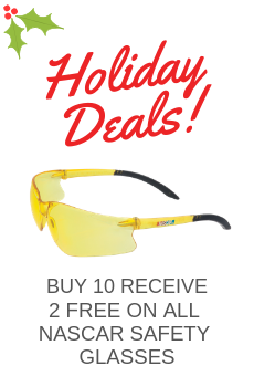 PURCHASE OF 12 NASCAR SAFETY GLASSES AND RECEIVE 2 FREE AT EQUAL OR LESS VALUE!
