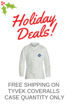 free shipping on Dupont Tyvek Disposable Coverall purchase - Case quantities only., hurry deal ends December 31, 2018