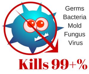 kills 99+% Germs Bacteria Mold Fungus & Virus.