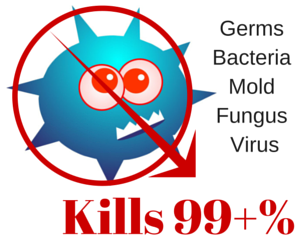 kills 99+% Germs Bacteria Mold Fungus & Virus.