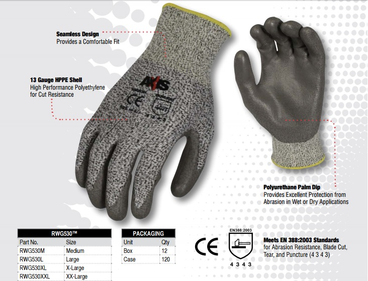 Buy Radians RWG530 Axis cut protection level 3 work glove today and Save up to 45%.