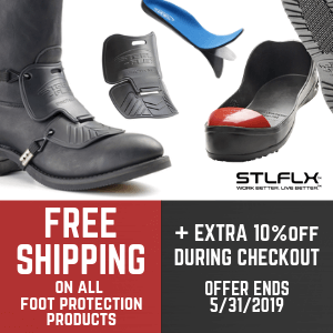 MAY 2019 FREE GROUND SHIPPING on ALL STEEL FLEX FOOT PROTECTION PRODUCTS and AN EXTRA 10% view your discount when add-to-cart.