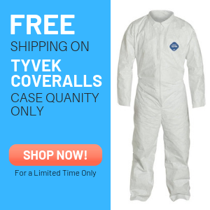 free shipping on all Tyvek Coverall purchase - Case quantities only.
