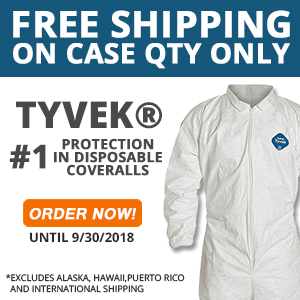 promotion on Dupont Tyvek Disposable coveralls sold per case, Free Shipping + Savings up to 20%