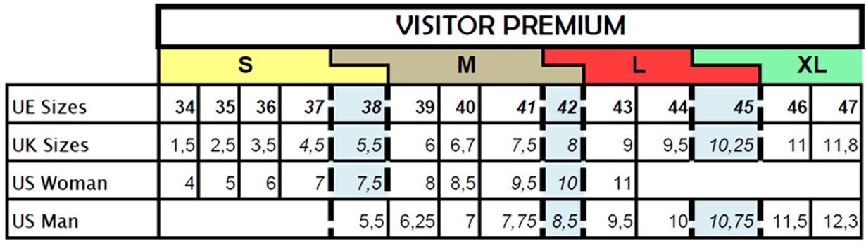 Visitor Premium safety Toe overshoes Sizing chart