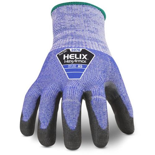 HexArmor 2076 Helix High Cut Blue Knit Glove with PU dip. Shop Now!