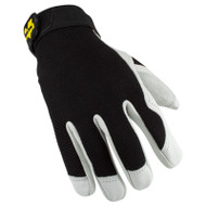 Valeo V255 Leather Utility Glove with Black Stretch Back Top View. Shop Now!