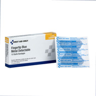 First Aid Only 1-696 Blue Metal Detectable Fabric Fingertip Bandages, 10 Per Box. Shop Now!