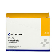 "First Aid Only FA-3-200 3""X3"" Sterile Gauze Pads, 10 Per Box . Shop Now!"