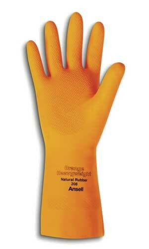 Ansell Orange Heavyweight Natural Rubber Latex Immersion Glove with Pinked Cuff. Shop Now!
