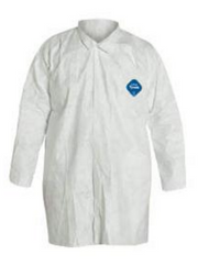 DuPont TY210S Tyvek Frocks w/ Collar and Front Snap Closure Front view. Shop now!