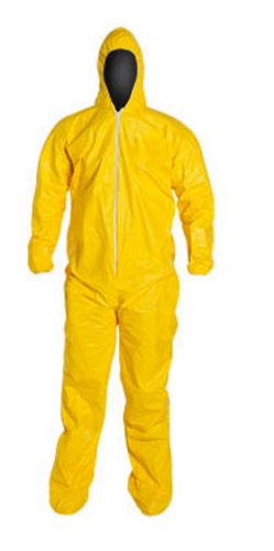DuPont QC122S Yellow Tychem QC Coverall w/ Hood and Attached Socks Front view. Shop now!