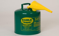 Buy Eagle UI-50-FSG 5 Gal Green Type I Safety Can w/ F-15 Funnel today and SAVE up to 25%.