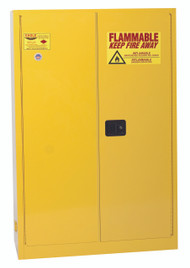 Eagle 1947X Flammable Liquid Safety Cabinet, 45 Gal., 2 Shelves, 2 Door, Manual Close, Yellow