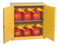 Buy Eagle 1932XSC6 Flammable Liquid Safety Cabinet Combo, 30 Gal. Yellow, 2 Door, Man. Close with 6 UI50FS Safety Cans today and SAVE up to 25%.