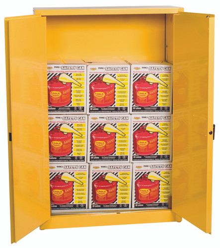 Eagle 1947XSC9 Flammable Liquid Safety Cabinet Combo, 45 Gal. Yellow, 2 Door, Man. Close with 9 UI50FS Safety Cans. Shop Now!