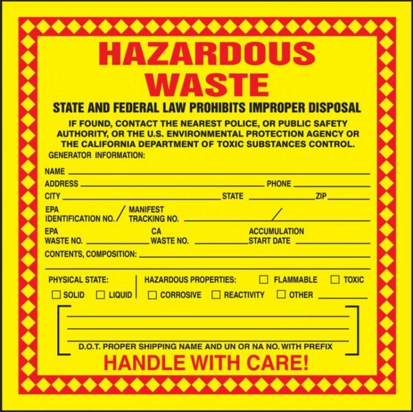 Accuform MHZWCA California Hazardous Waste Chemical Properties Label