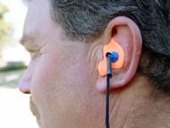 Model using Orange Custom Earplugs with Black Cord Item Number RD-CEPNC-B
