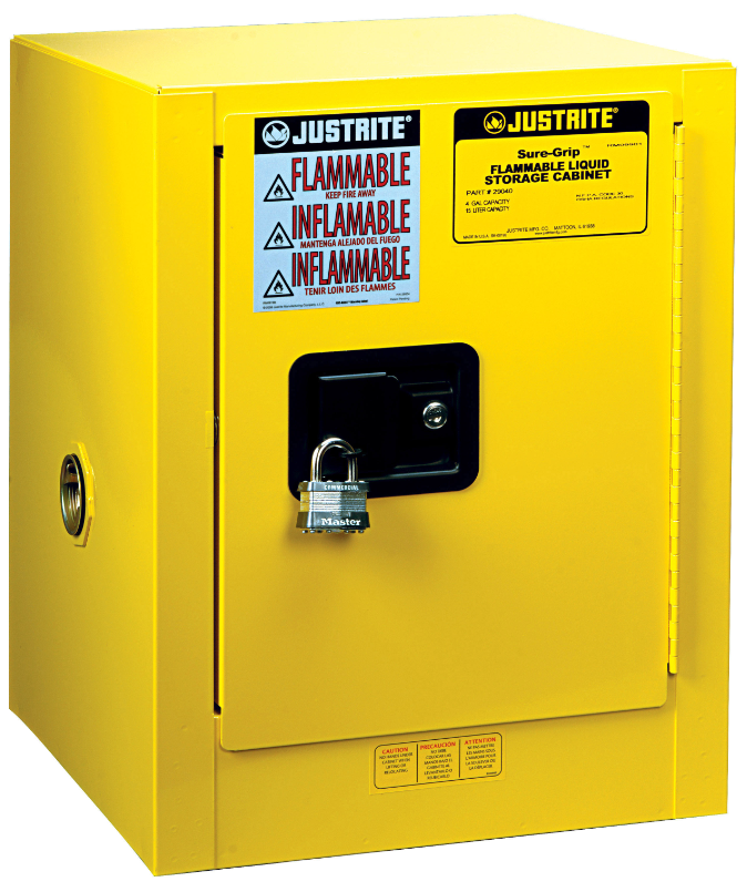 Justrite 890400 Yellow 4 Gal Sure Grip Ex Flammable Safety