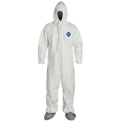 Dupont TY122S White Coveralls w/ Hood & Skid-Resistant Boots Front view. Shop now!