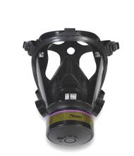 Survivair 763000 Opti Fit Tactical Gas Mask Facepiece w/ 5 Point Strap Front View. Shop
