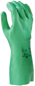Biodegradable, created w/premium grade polymers and nitrile, 15-mil, green, bisque finish, unlined