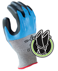 Engineered Hagane Coil™ Technology cut resistant fiber w/double dipped nitrile palm coating, grey with blue and black overcoating, smooth finish, ANSI CUT LEVEL 4. Shop Now!