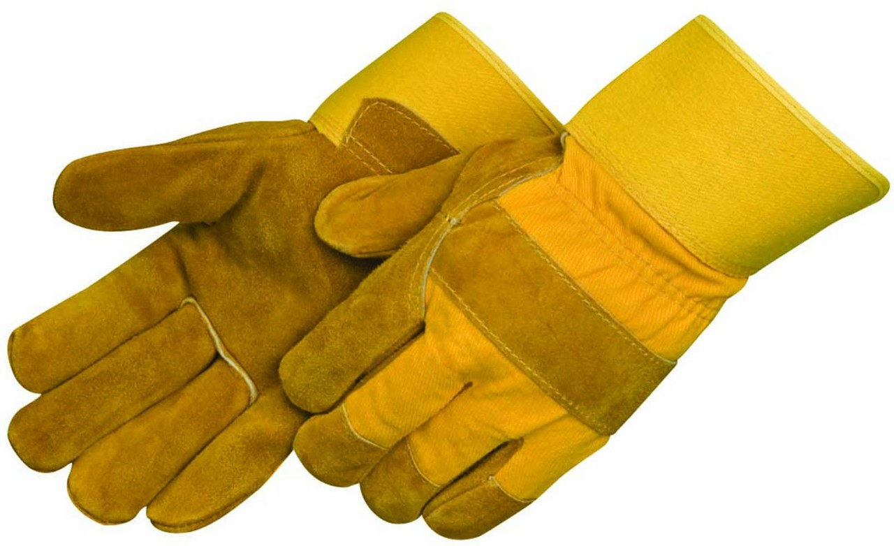 Pile Lined Split Cowhide Leather Palm Gloves-6181