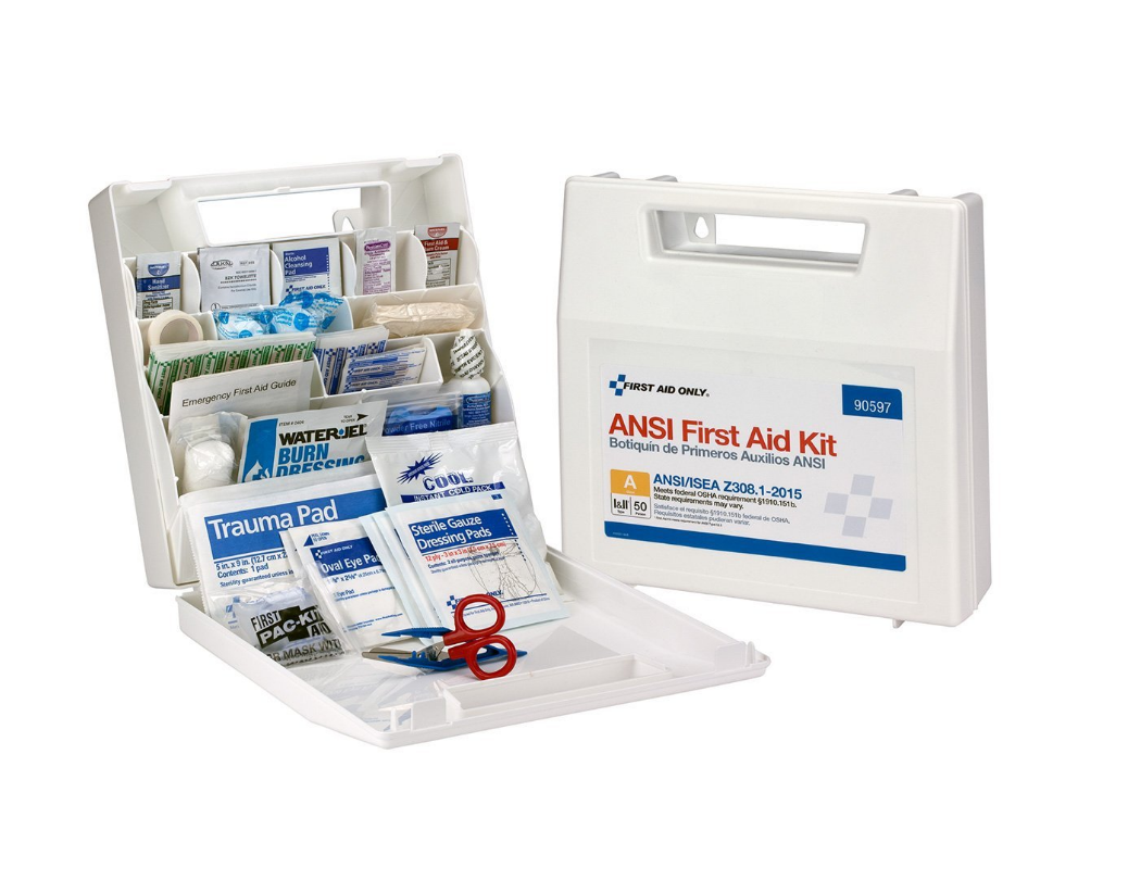 First Aid Only Class A 50 Person Bulk ANSI A, Plastic First Aid Kit-Type I  & II