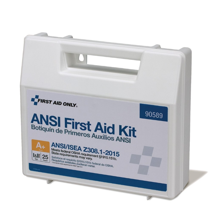 First Aid Only Class A+ 25 Person Bulk ANSI A+, Plastic First Aid Kit-Type  I & II