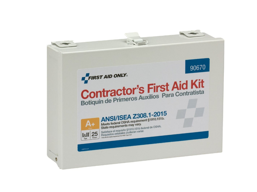 First Aid Only 90670 Class A+ 25 Person ANSI A+,Contractor Metal First Aid  Kit-Type I & II
