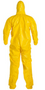 DuPont QC122T Yellow Tychem QC Coverall w/ Hood and Attached Socks Rear view. Shop now!